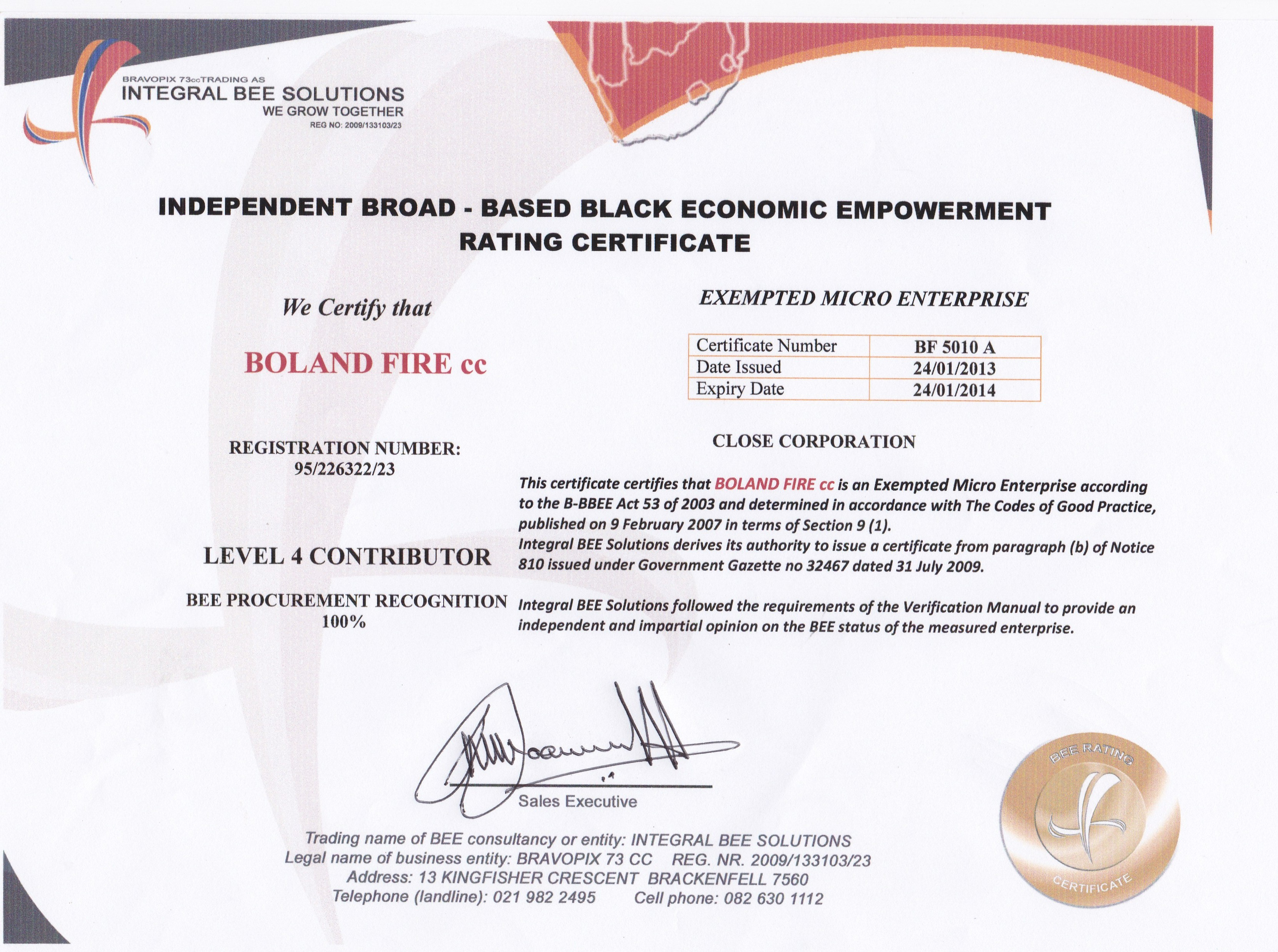 Boland Fire Services - 100% BEE Procurement Recognition